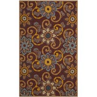 Safavieh Hand-Hooked Four Seasons Floral Scrollwork Burgundy Rug - 5' x 8'