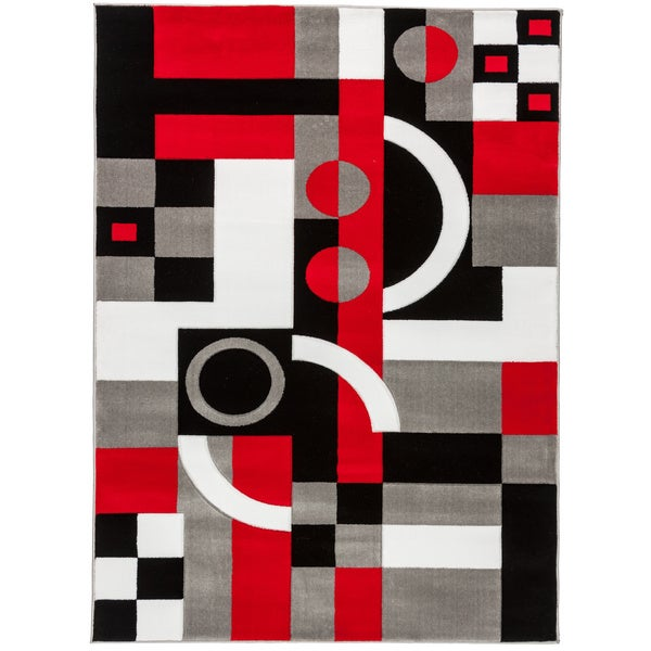 Shop Well Woven H Carved Contemporary Geometric Shapes Black Red