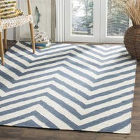 Safavieh Handwoven Reversible Dhurries Blue/Ivory Wool Area Rug - 8' Square