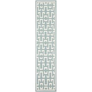 Safavieh Hand-woven Moroccan Reversible Dhurrie Seafoam/ Ivory Wool Rug (2'6 x 8')