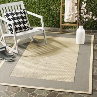 Safavieh Indoor/ Outdoor Courtyard Grey/ Cream Rug (7'10 Square)