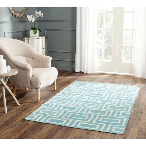 Safavieh Handwoven Moroccan Reversible Dhurrie Labyrinth-pattern Light Blue/ Ivory Wool Rug - 9' x 12'
