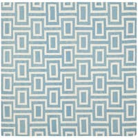 Safavieh Hand-woven Moroccan Reversible Dhurrie Light Blue/ Ivory Wool Rug - 8' Square
