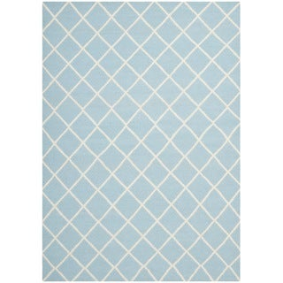 Safavieh Handwoven Moroccan Reversible Dhurrie Square-pattern Light Blue/ Ivory Wool Rug (9' x 12')