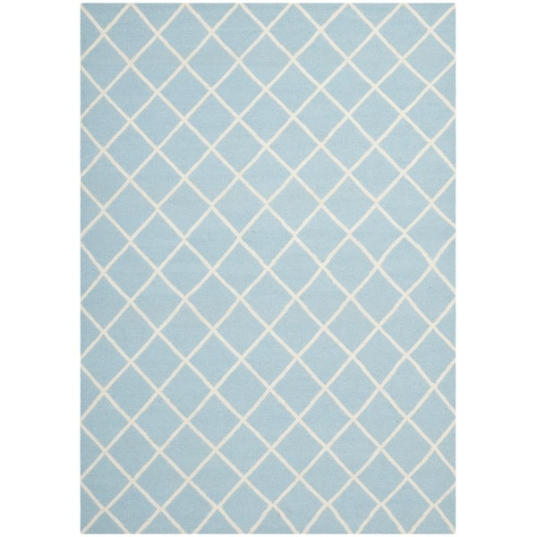 Safavieh Handwoven Moroccan Reversible Dhurrie Square-pattern Light Blue/ Ivory Wool Rug - 9' x 12'