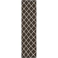 Safavieh Hand-woven Moroccan Reversible Dhurrie Brown/ Ivory Wool Rug - 2'6 x 8'