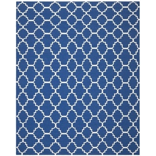 Safavieh Handwoven Moroccan Reversible Dhurrie Dark Blue Wool Area Rug (9' x 12')
