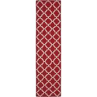 Safavieh Hand-woven Moroccan Reversible Dhurrie Red/ Ivory Wool Rug - 2'6 x 6'