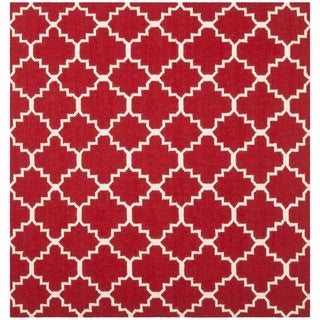 Safavieh Hand-woven Moroccan Reversible Dhurrie Red/ Ivory Wool Rug (4' Square)