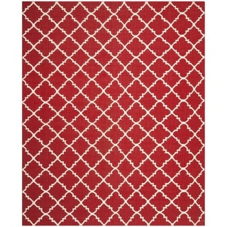 Safavieh Hand-woven Moroccan Reversible Dhurrie Red/ Ivory Wool Rug (9' x 12')