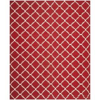 Safavieh Hand-woven Moroccan Reversible Dhurrie Red/ Ivory Wool Rug (9' x 12')|https://ak1.ostkcdn.com/images/products/8059318/8059318/Safavieh-Hand-woven-Moroccan-Dhurrie-Red-Ivory-Wool-Rug-9-x-12-P15415954.jpg?impolicy=medium