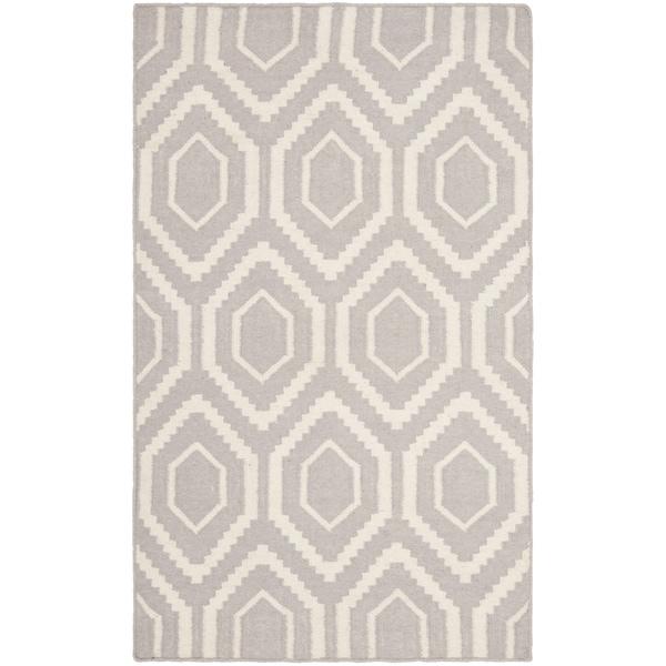 Safavieh Hand-woven Moroccan Reversible Dhurrie Grey/ Ivory Wool Rug - 2'6 x 4'