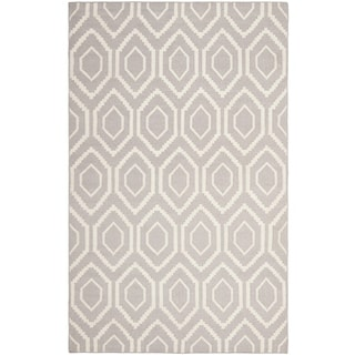 Safavieh Hand-woven Moroccan Reversible Dhurrie Grey/ Ivory Wool Rug (11' x 15')