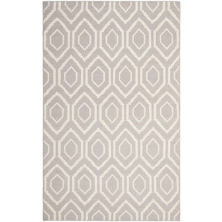 Safavieh Hand-woven Moroccan Reversible Dhurrie Grey/ Ivory Wool Rug - 11' x 15'