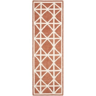 Safavieh Hand-woven Moroccan Reversible Dhurrie Red/ Ivory Wool Rug (2'6 x 12')