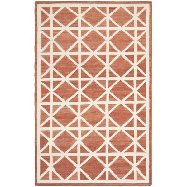 Safavieh Handwoven Moroccan Reversible Dhurrie Red Ivory Wool Area Rug