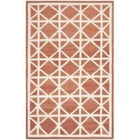 Safavieh Handwoven Moroccan Reversible Dhurrie Red/ Ivory Geometric Wool Rug - 9' x 12'