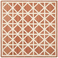 Safavieh Hand-woven Moroccan Reversible Dhurrie Red/ Ivory Wool Rug - 8' Square