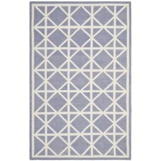 Safavieh Hand-woven Moroccan Reversible Dhurrie Purple/ Ivory Wool Rug (9' x 12')