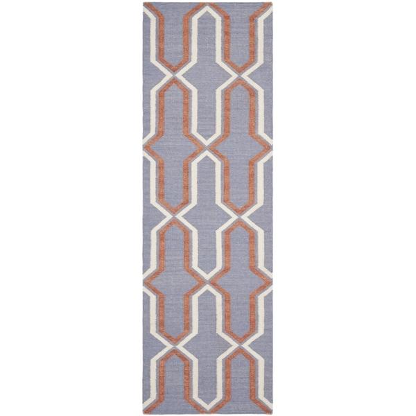 Safavieh Hand-woven Moroccan Reversible Dhurrie Purple Wool Rug - 2'6 x 14'