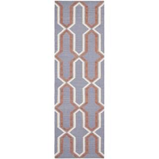 Safavieh Purple Handwoven Moroccan Reversible Dhurrie Wool Runner Rug (2'6 x 6')