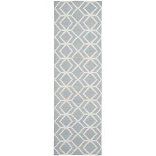 Safavieh Handwoven Moroccan Reversible Dhurrie Blue/ Ivory Wool Runner Rug (2'6 x 12')