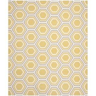 Safavieh Hand-woven Moroccan Reversible Dhurrie Ivory/ Yellow Wool Rug (6' x 9')