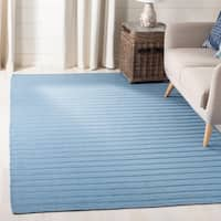 Safavieh Hand-woven Dhurrie Flatweave Blue Stripe Wool Rug - 6' X 9'