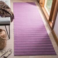 """Safavieh Hand-woven Dhurrie Flatweave Lavender Stripe Wool Rug - 2'6"""" x 6'"""