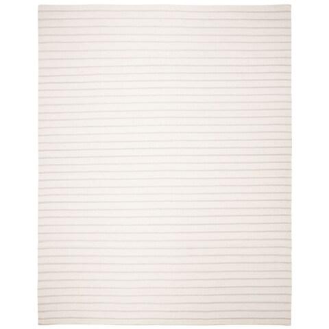 Safavieh Hand-woven Dhurrie Flatweave Cream Stripe Wool Rug - 6' x 9'