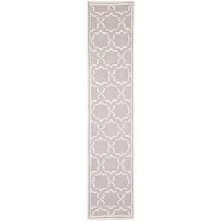 Safavieh Hand-woven Moroccan Reversible Dhurrie Grey/ Ivory Wool Rug (2'6 x 6')