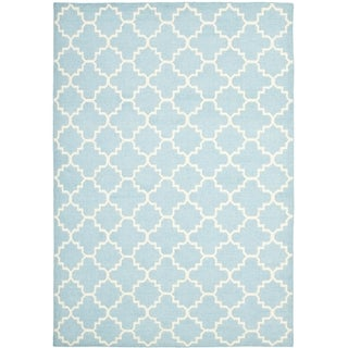 Safavieh Hand-woven Moroccan Reversible Dhurrie Light Blue/ Ivory Wool Rug (11' x 15')