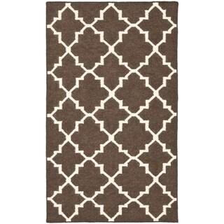 "Safavieh Hand-woven Moroccan Reversible Dhurrie Brown/ Ivory Wool Rug - 2'6"" x 4'"