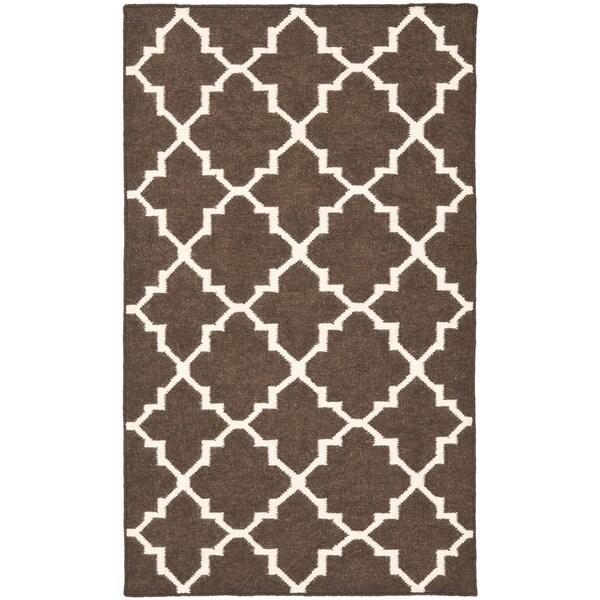 Safavieh Hand-woven Moroccan Reversible Dhurrie Brown/ Ivory Wool Rug (2'6 x 4')