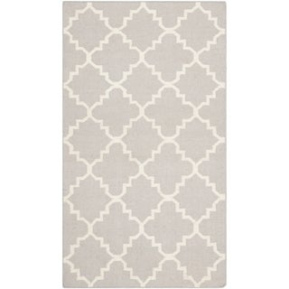 "Safavieh Handwoven Moroccan Reversible Dhurrie Grey/ Ivory Geometric Wool Rug (2'6"" x 4')"