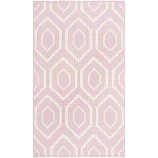 Safavieh Hand-woven Moroccan Reversible Dhurrie Pink/ Ivory Wool Rug (2'6 x 4')|https://ak1.ostkcdn.com/images/products/8059373/8059373/Safavieh-Hand-woven-Moroccan-Dhurrie-Pink-Ivory-Wool-Rug-26-x-4-P15416004.jpg?impolicy=medium