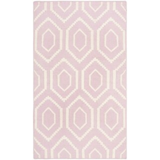 Safavieh Hand-woven Moroccan Reversible Dhurrie Pink/ Ivory Wool Rug - 2'6' x 4'