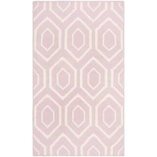 "Safavieh Hand-woven Moroccan Reversible Dhurrie Pink/ Ivory Wool Rug - 2'6"" x 4'"