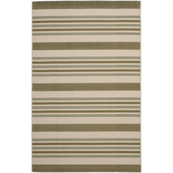 Safavieh Indoor/ Outdoor Courtyard Beige/ Green Rug (8' x 11')