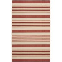 Safavieh Indoor/ Outdoor Courtyard Beige/ Red Rug - 6'7 x 9'6
