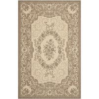 Safavieh Indoor/ Outdoor Courtyard Cream/ Brown Rug - 4' x 5'7