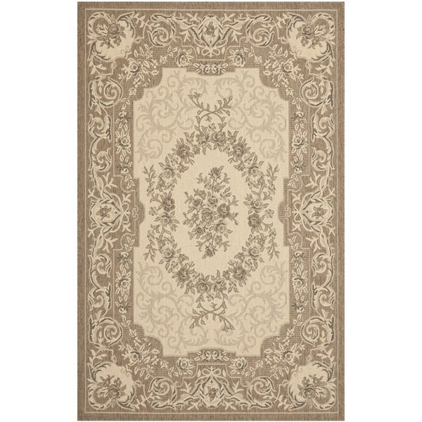 Safavieh Indoor/ Outdoor Courtyard Cream/ Brown Rug - 5'3 x 7'7