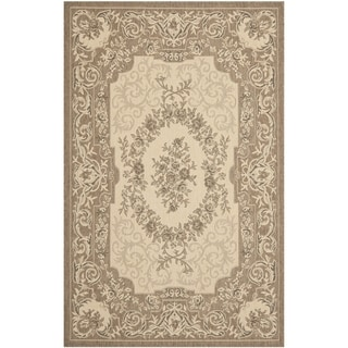 Safavieh Indoor/ Outdoor Courtyard Cream/ Brown Rug (6'7 x 9'6)