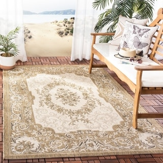 Safavieh Indoor/ Outdoor Courtyard Cream/ Brown Rug (9' x 12')