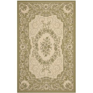 Safavieh Indoor/ Outdoor Courtyard Cream/ Green Rug (5'3 x 7'7)