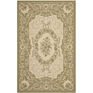 Safavieh Indoor/ Outdoor Courtyard Cream/ Green Rug (9' x 12')