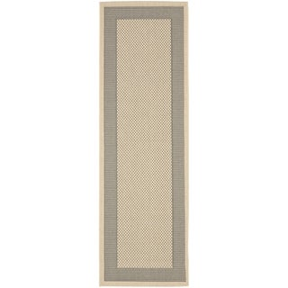 Safavieh Indoor/ Outdoor Courtyard Grey/ Cream Rug (2'4 x 12')