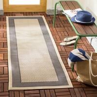 """Safavieh Indoor/ Outdoor Courtyard Grey/ Cream Rug - 2'4"""" x 14'"""