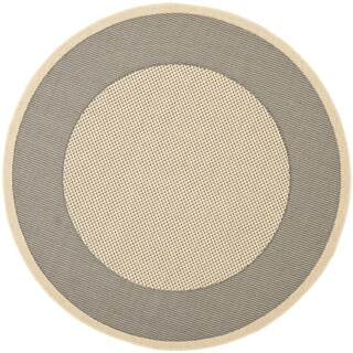 Safavieh Indoor/ Outdoor Courtyard Grey/ Cream Rug (7'10 Round)