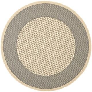 Safavieh Indoor/ Outdoor Courtyard Grey/ Cream Rug - 7'10 Round